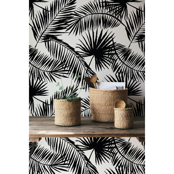 Black And White Palm Leaves Wallpaper Wall Mural Coloraydecor Com