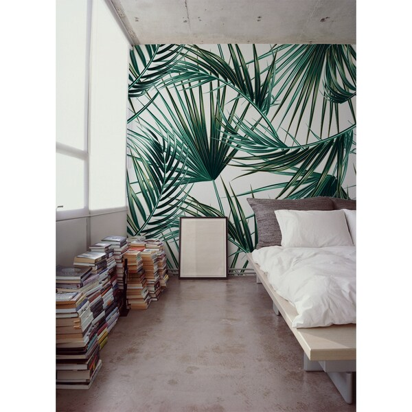Wallpaper Paradise Green Palm Leaves