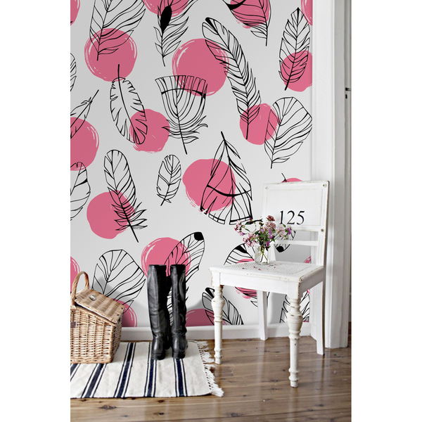 Wallpaper Feathers With Pink Polka Dots
