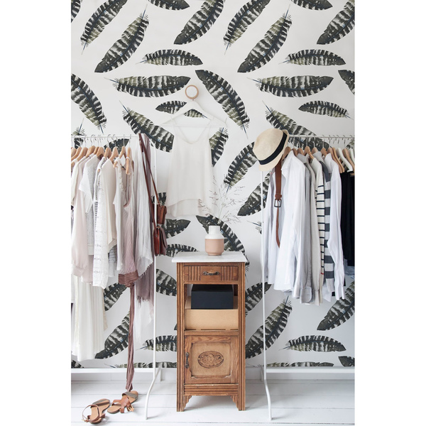 Wallpaper Feathers In Boho Style