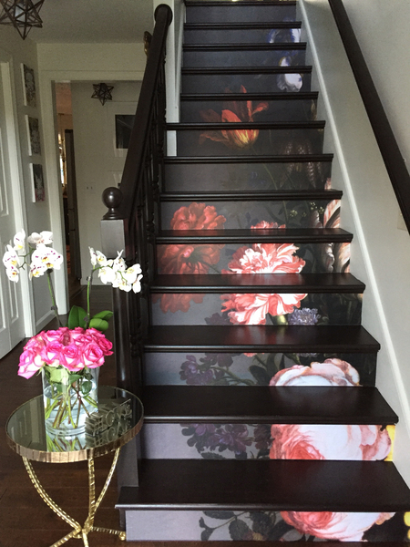 Stair decals Vintage Painted Flowers