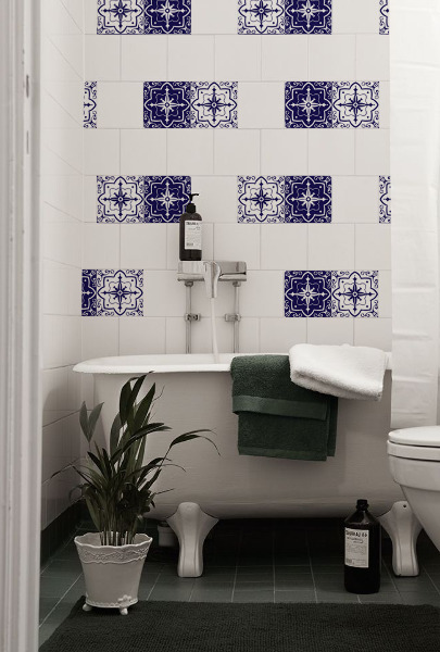 Tile decals Blue and White