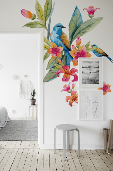 Wall decals Flowers with a Bird