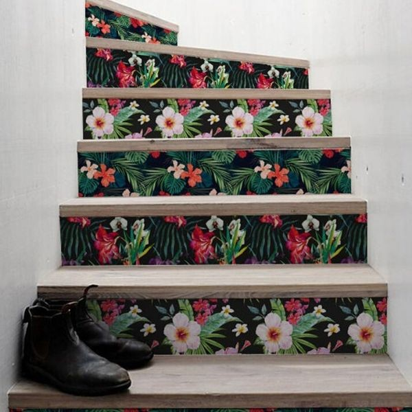 Floral stair decals