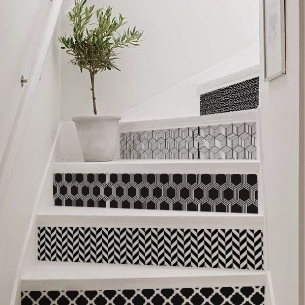 Black and white stair decals