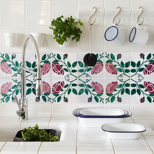 Floral tile decals